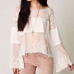 Free People lace crochet sheer panel scallop top